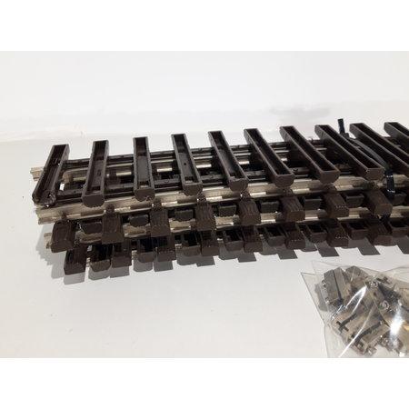 LGB 5x 50cm gebogenes Gleis (vernickelt) Spur G passend zu LGB inkl. Schraubschienenverbinder (gebraucht)