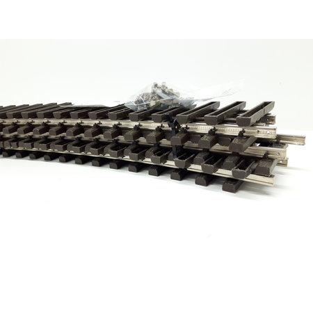 LGB 6x 50cm gebogenes Gleis (vernickelt) Spur G passend zu LGB inkl. Schraubschienenverbinder (gebraucht)