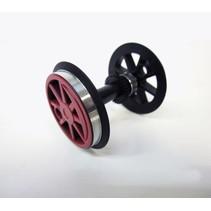 Radsatz mit Zahnrad + Kugellager für BR 80 rot