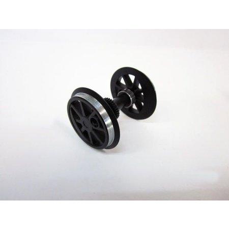 PIKO Radsatz mit Zahnrad + Kugellager für US Dampflok schwarz