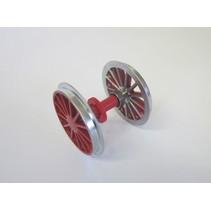 Radsatz BR 194, verchromt, rot mit Kugellager und Zahnrad