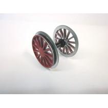 Radsatz BR 194, verchromt, rot mit Kugellager, Haftreifen und Zahnrad