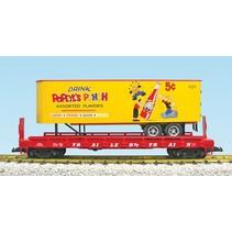Piggyback Flatcar Popeye Root Beer mit Trailer