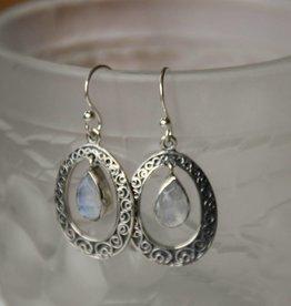 Lacom gems Silver moonstone earrings