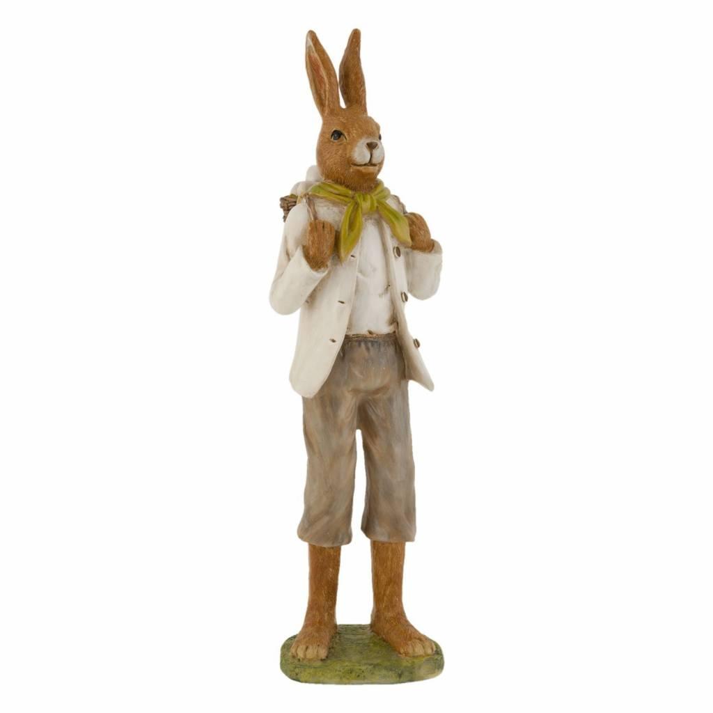 Clayre & Eef Decoratie konijn met zak paaseieren