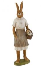 Clayre & Eef Decoratie konijn met mand paaseieren