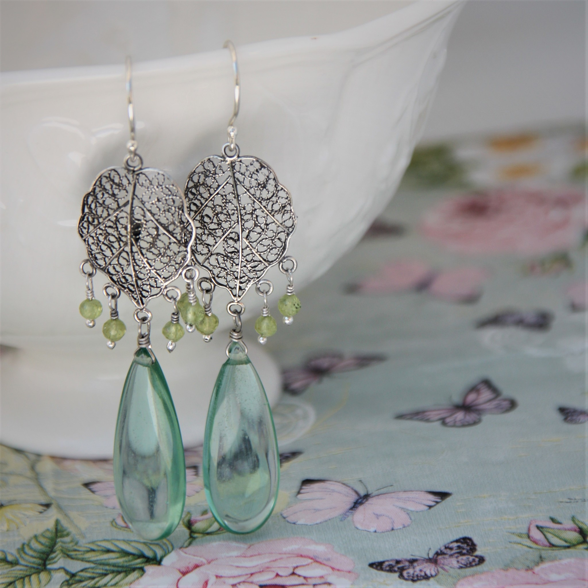 Yvone Christa Silver filigree earrings