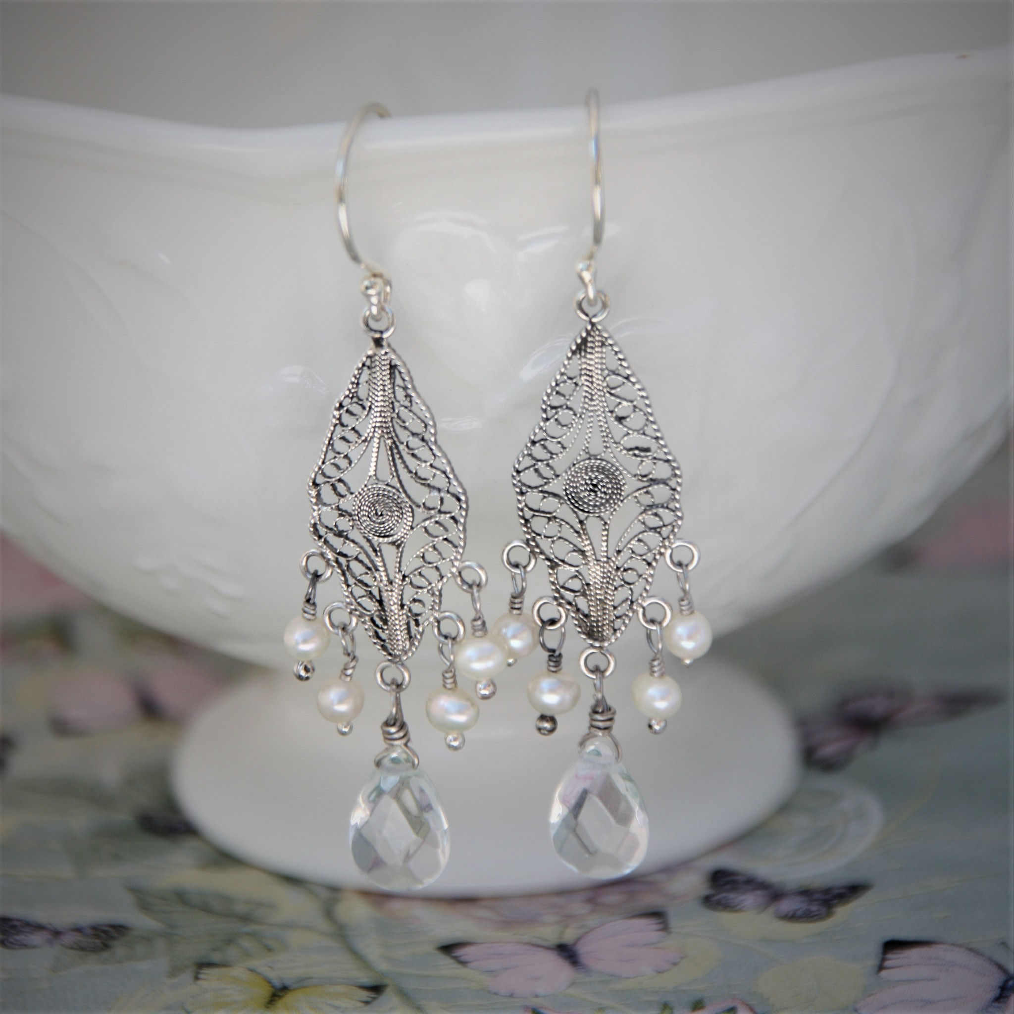 Yvone Christa Silver filigree earrings  with white pearls and Chrystal