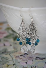 Yvone Christa Silver filigree earrings  with blue Agate and Chrystal