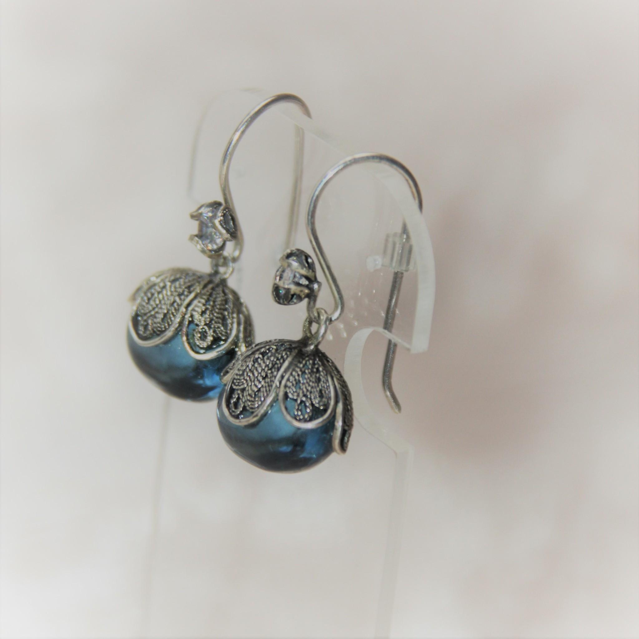 Yvone Christa Blue Aqua Lemoria earrings