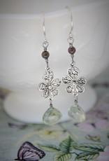 Yvone Christa Long silver earrings with Aqua Lemuria