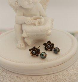 Eric & Lydie Kleine bronzen oorbellen met grijze parel