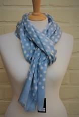 The blue Turban Wollen sjaal met bolletjes