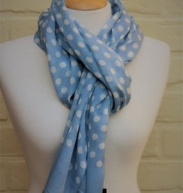 The blue Turban Wollen sjaal met bolletjes