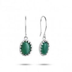 Carré Jewellery Zilveren oorbellen van Carré met groene Agaat