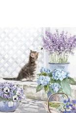 Ambiente Servetten met poes en bloemen