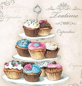 Ambiente Servetten met cupcakes on etagére
