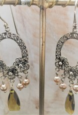 Yvone Christa Silver  earrings with antique pearls