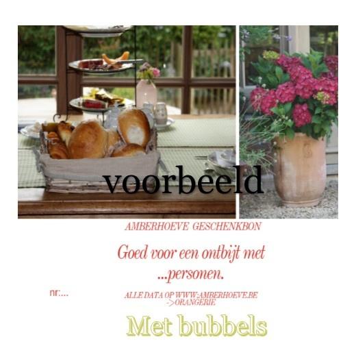 Bon voor een ontbijt op de Amberhoeve met bubbels met 2 personen