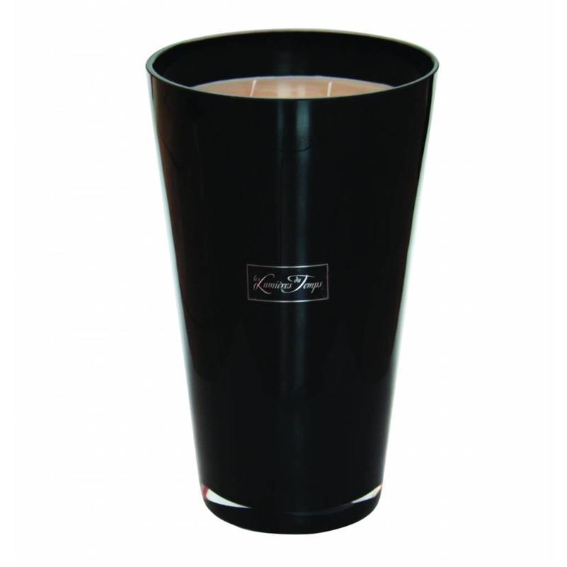 Kaars in dik zwart glas maat XXL