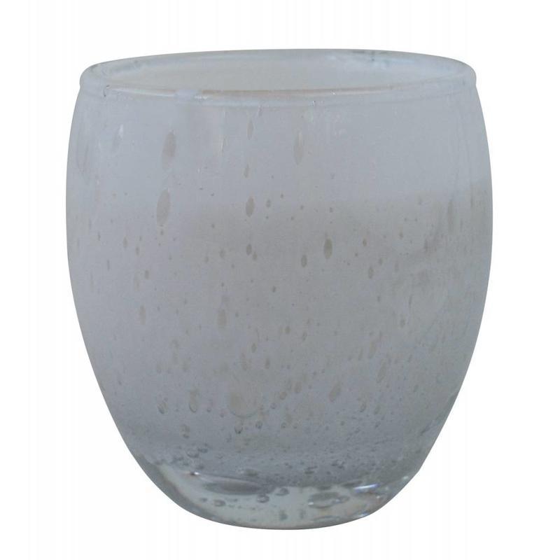 Grote geurkaars Perle in wit glas