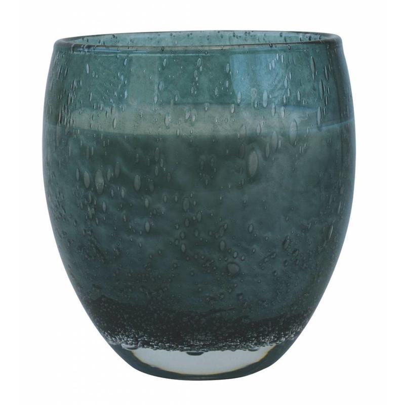 Grote geurkaars Perle in zeegroen glas