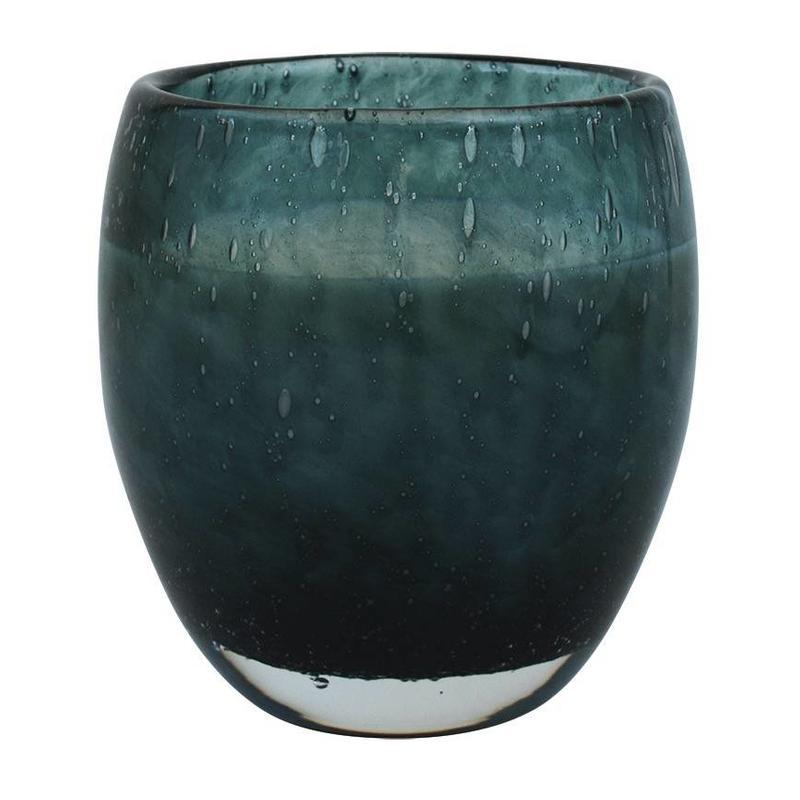 Middelgrote geurkaars Perle in zeegroen glas