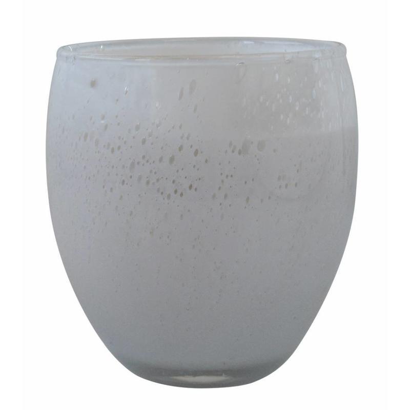 Middelgrote geurkaars Perle in wit glas