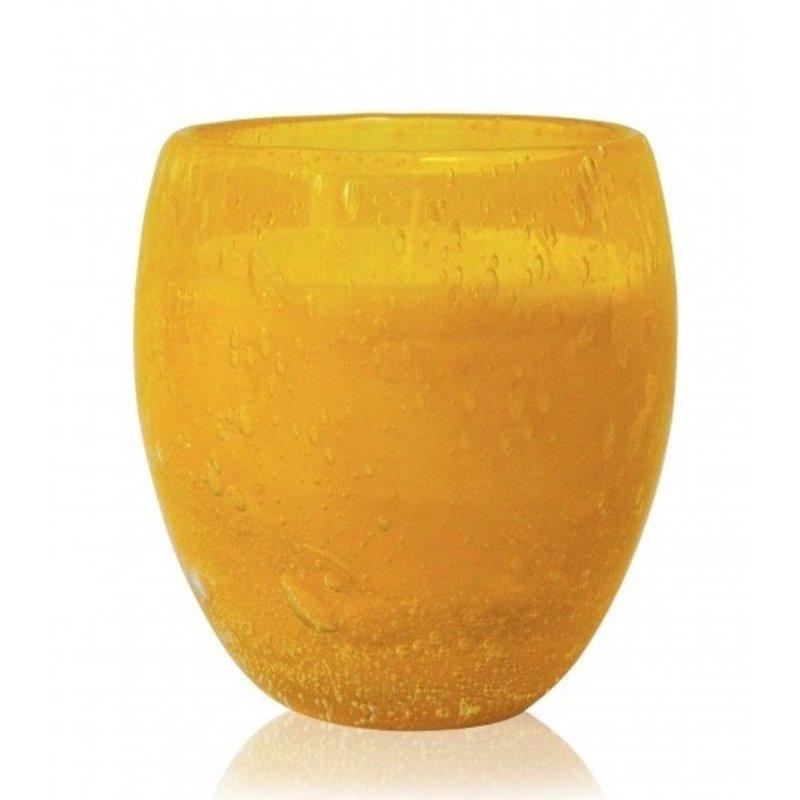 Grote geurkaars Perle in geel glas