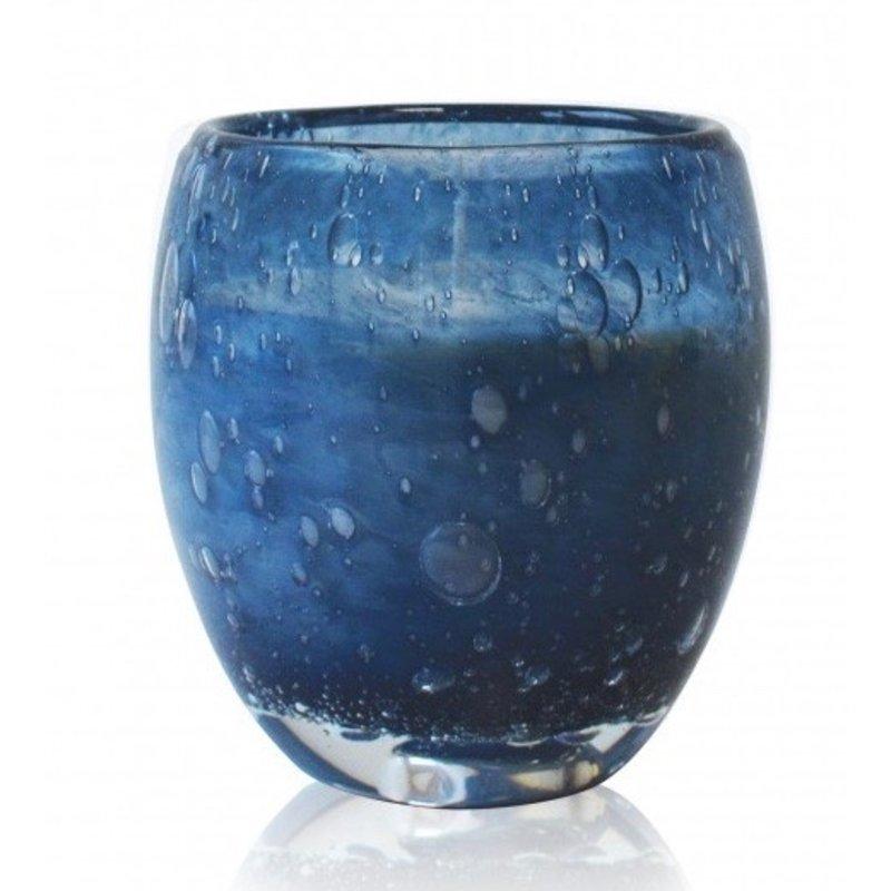 Grote geurkaars Perle in blauw glas