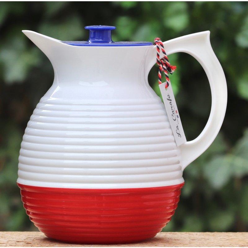 Nostalgische karaf in de kleur blauw-wit-rood