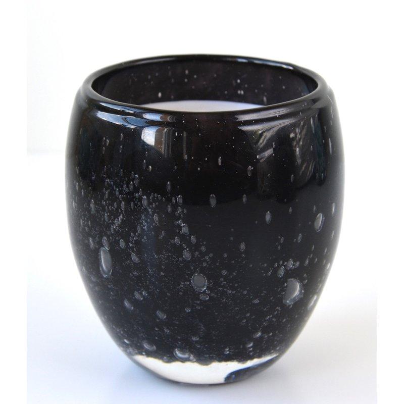 Grote geurkaars Perle in zwart glas