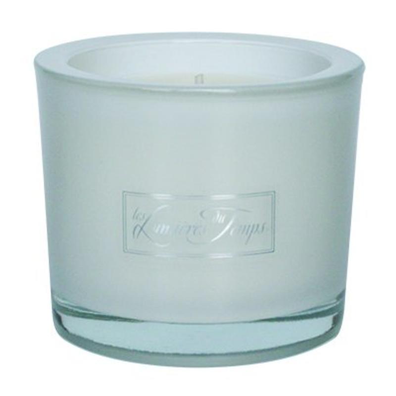 Geurkaars in luxe wit glas maat S