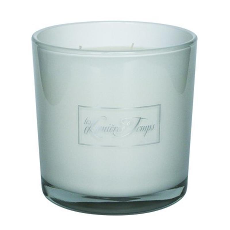 Kaars in wit glas maat L