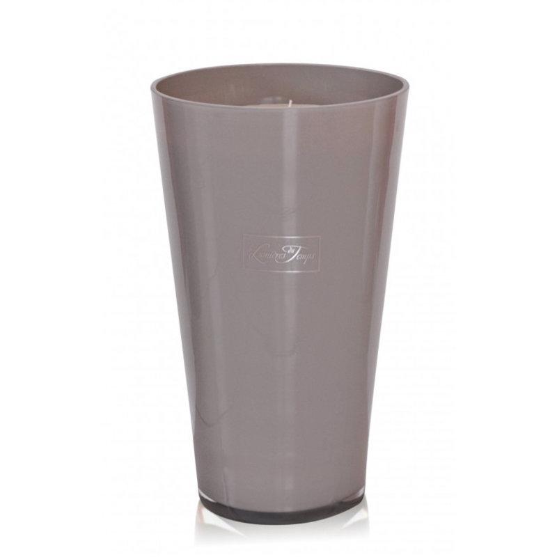 Kaars in dik taupe glas maat XXL