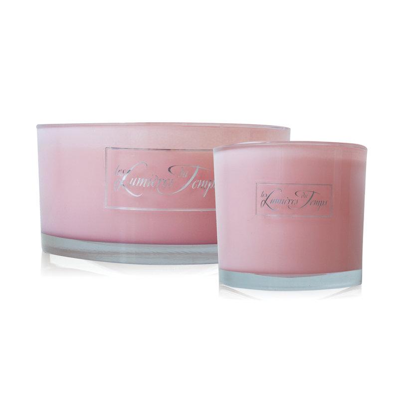 Kaars in roze glas maat medium