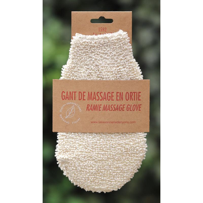 Massagehandschoen van brandnetelvezels