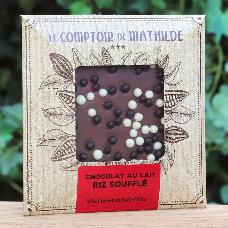 Chocoladetablet met pofrijst