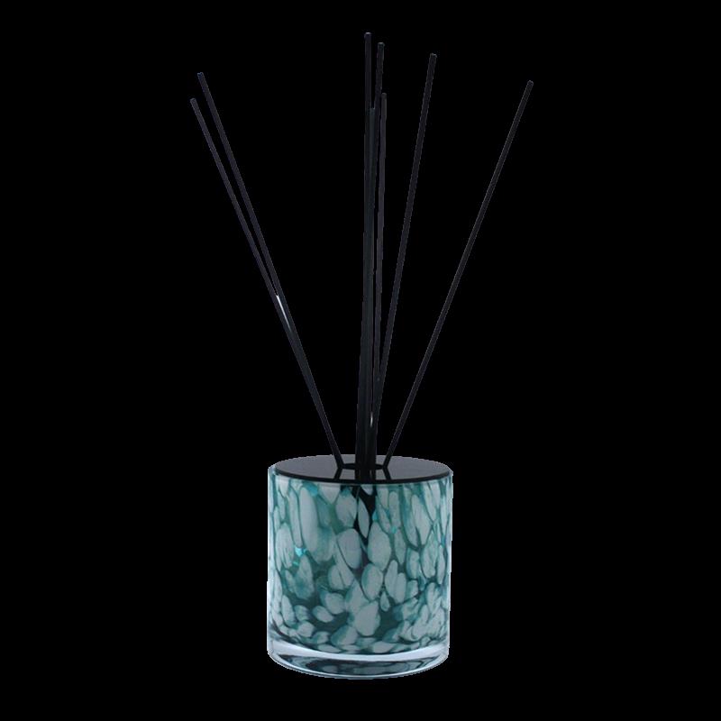 Huisparfum in turquoise Milanoglas