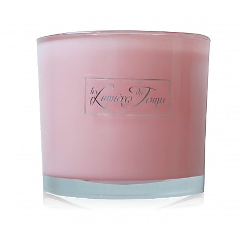 Kaars in roze glas maat L