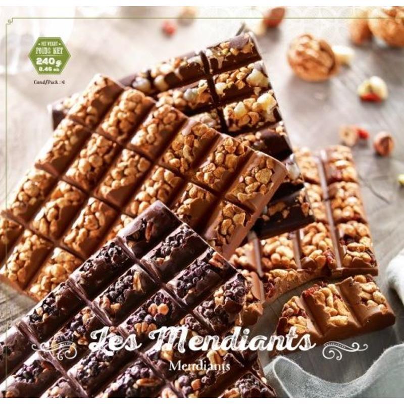 Plak notenchocolade (mendiants)