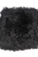 Stoelpad schapenvacht vierkant -zwart-