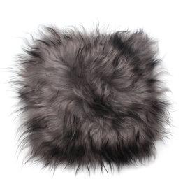 Stoelpad schapenvacht vierkant -grijs dark top-