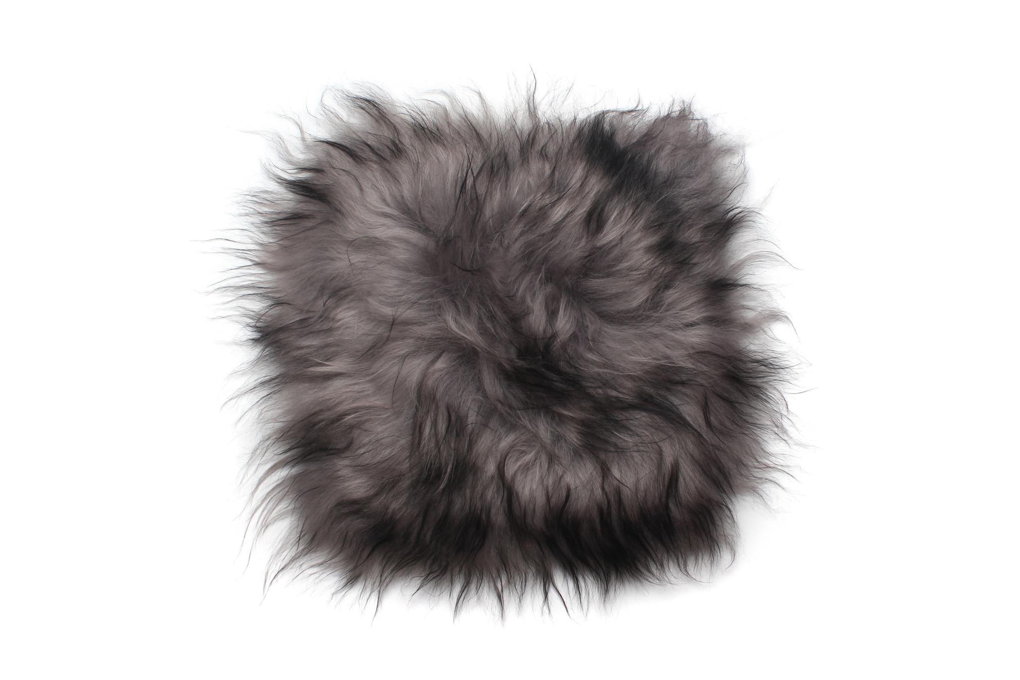 @BERG Stoelpad schapenvacht vierkant -grijs dark top-