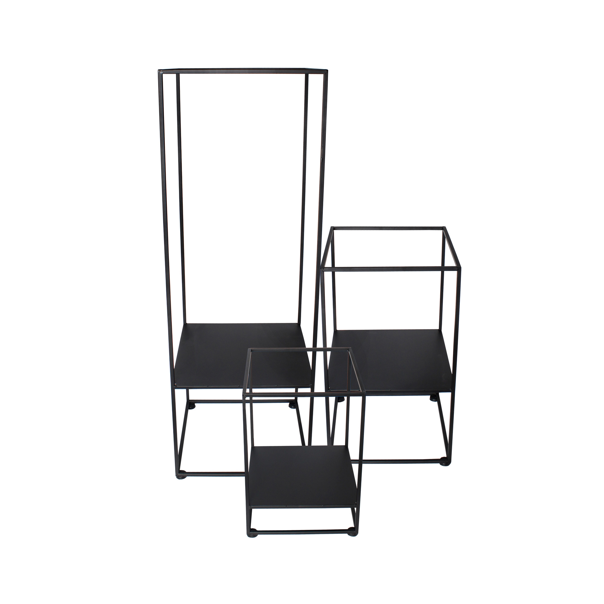 Planter Square Black -set van 3-