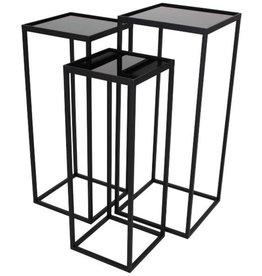 Plantentafel vierkant -set van 3 - zwart