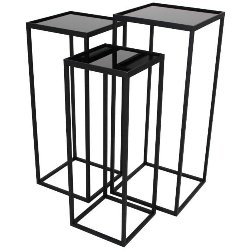 Plantentafel vierkant -set van 3- zwart