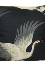 @BERG Kussen Kraanvogel 45x45 cm -zwart-