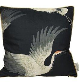 Kussen Kraanvogel  -zwart-