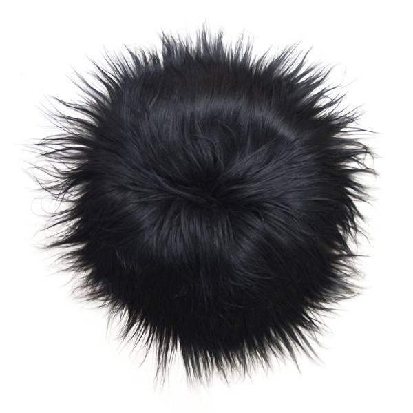 @BERG Stoelpad schapenvacht rond -zwart-